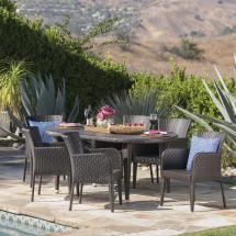 Noble House Raven Multi-brown 7-piece Wicker Outdoor