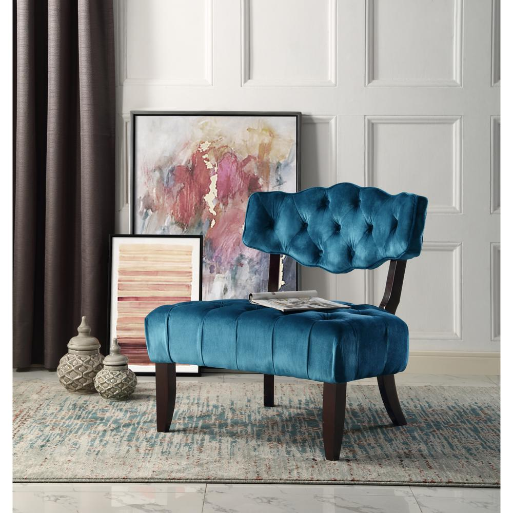Velvet Slipper Chair Inspired Home Aniston Teal Velvet Wingback Button Tufted Armless