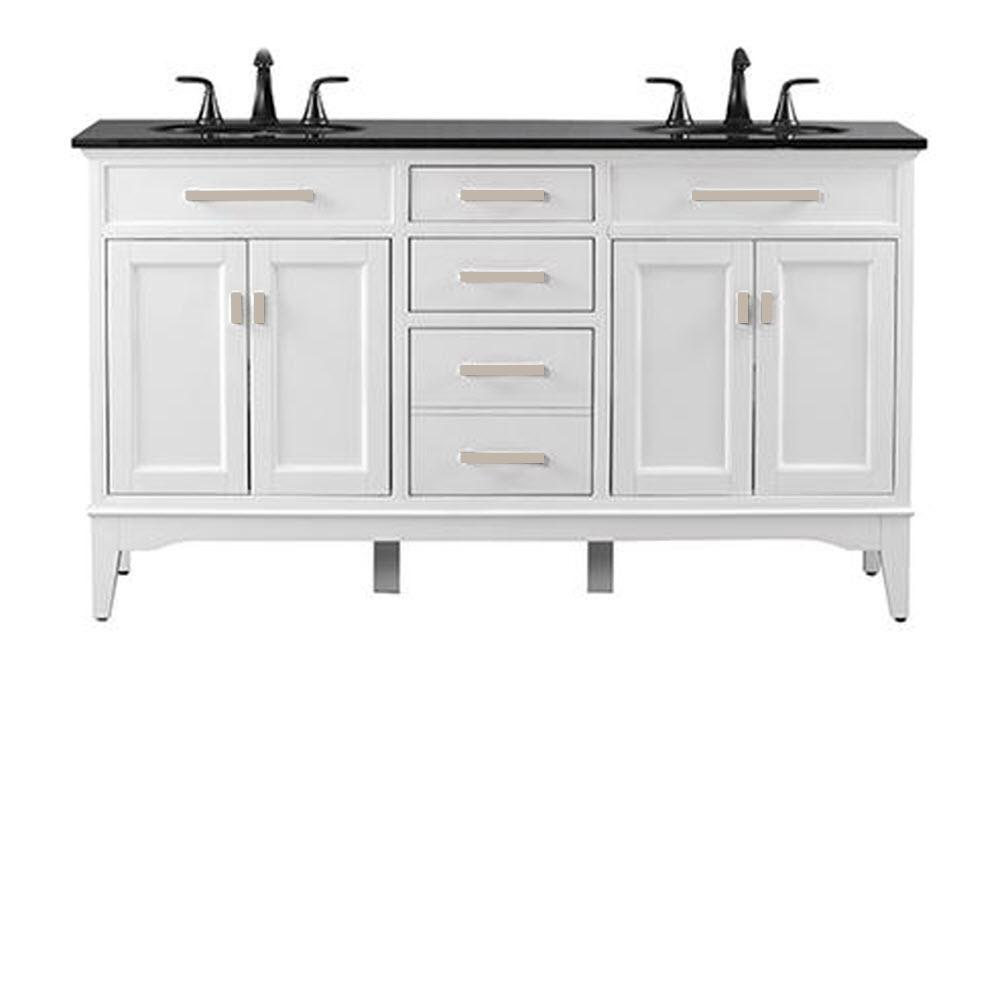 Home Decorators Collection Manor Grove 61 In W Double Bath Vanity In White With Granite Vanity Top In Black With White Sink 13213 Vs61a Wt The Home Depot