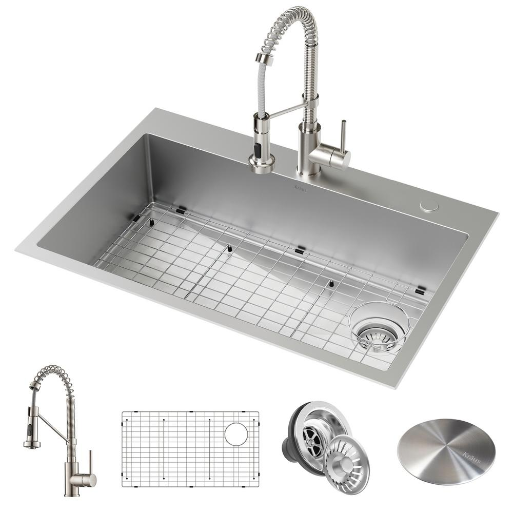 kitchen sink capacity value city furniture sets kraus loften all in one dual mount drop stainless steel 33 2 hole single bowl with pull down faucet