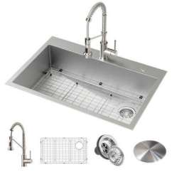 Buy Undermount Kitchen Sink Utility Knife Sinks The Home Depot Loften All In One Dual Mount Drop Stainless Steel 33