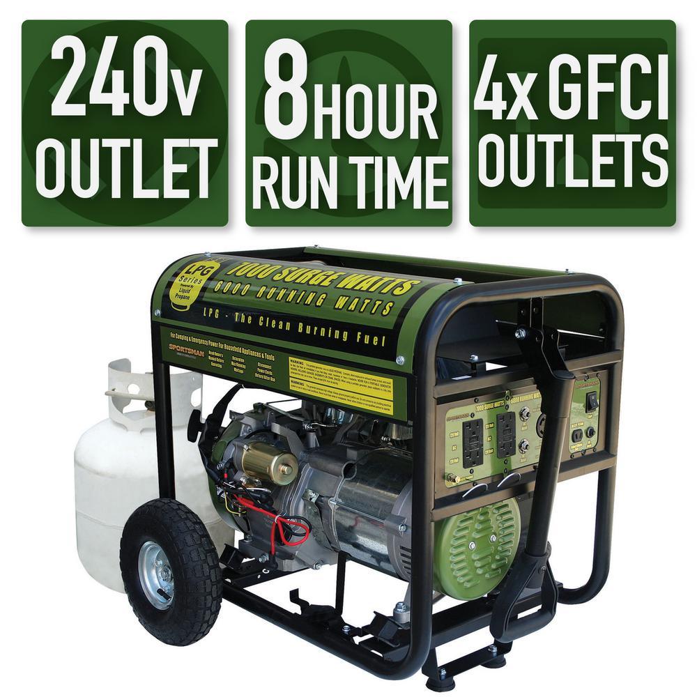 hight resolution of 7 000 6 000 watt propane gas powered electric start portable generator
