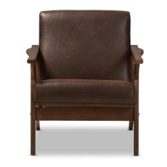 Lounge Chair Leather Black Chairs Baxton Studio Bianca Dark Brown Walnut Faux