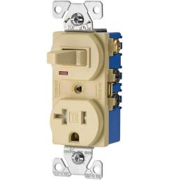 eaton 15 amp 120 volt 5 15 3 wire combination receptacle and toggle wiring devices 15amp ivory combination special use light switch [ 1000 x 1000 Pixel ]