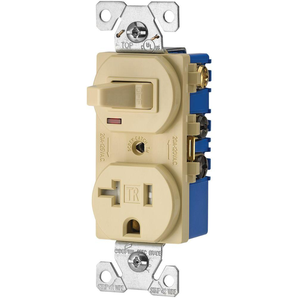 medium resolution of eaton 15 amp 120 volt 5 15 3 wire combination receptacle and toggle wiring devices 15amp ivory combination special use light switch