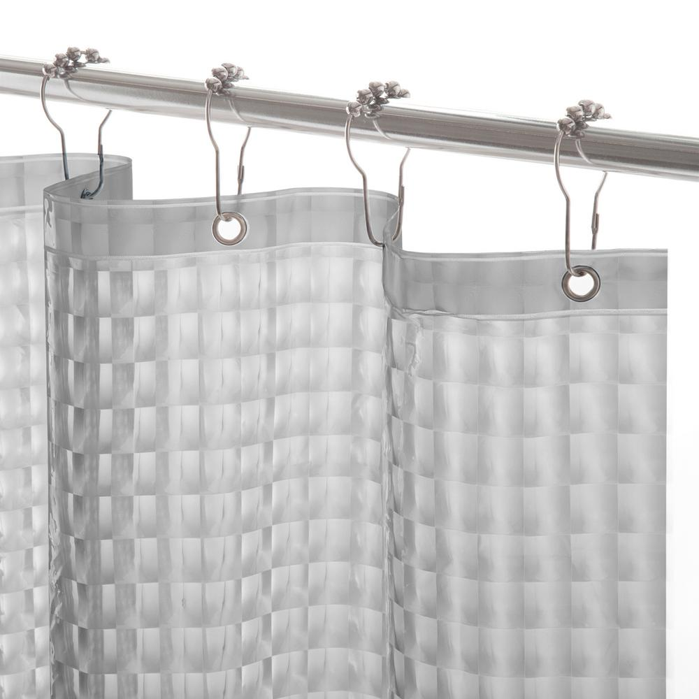 interDesign Poly Waterproof StallSize Shower Curtain Liner in White14662  The Home Depot