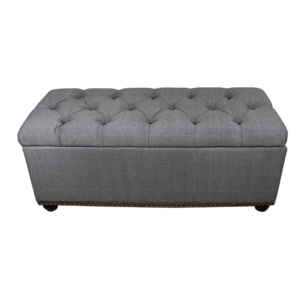 Unbranded 18 In Tufted Grey Storage Bench And 3 Piece Ottoman Seating Hb4503 The Home Depot