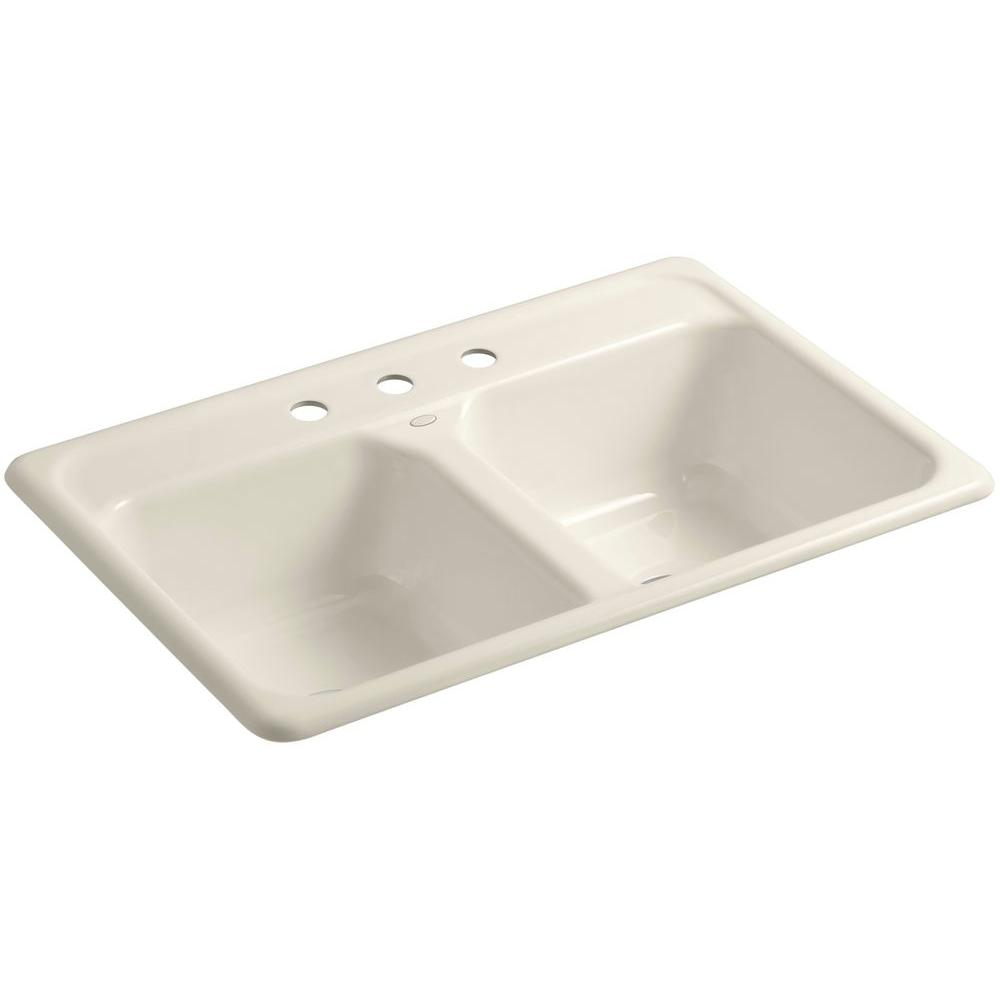 3 basin kitchen sink inside cabinet storage kohler delafield drop in cast iron 33 hole double bowl white k 5817 0 the home depot