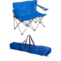 Double Camping Chairs Folding Behind The Chair Com 2 Trademark Innovations Blue 31 5 In H Loveseat Style Steel Frame Camp