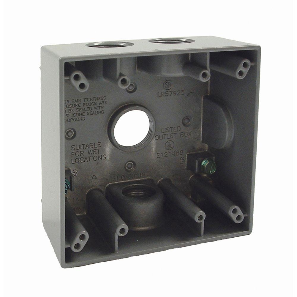 medium resolution of 2 gang weatherproof box with four 3 4 in outlets