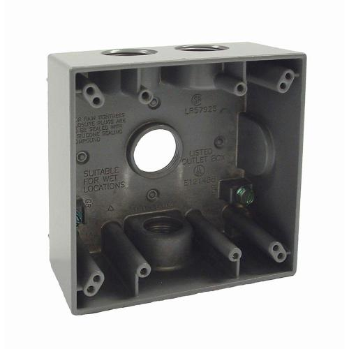 small resolution of 2 gang weatherproof box with four 3 4 in outlets