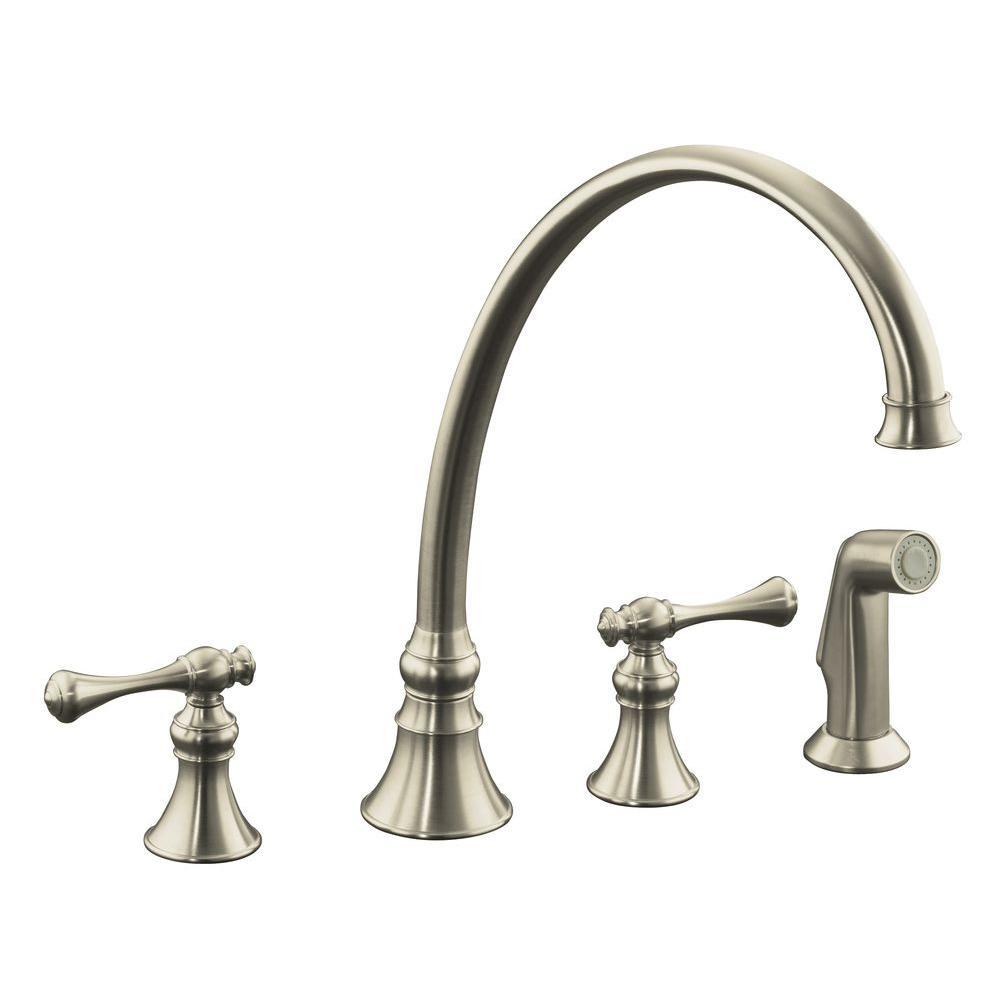 kitchen faucets kohler vent fan revival 2 handle standard faucet in vibrant brushed nickel