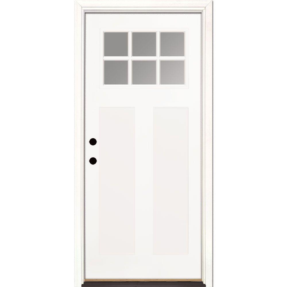 Feather River Doors 36 in. x 80 in. 6 Lite Clear Craftsman