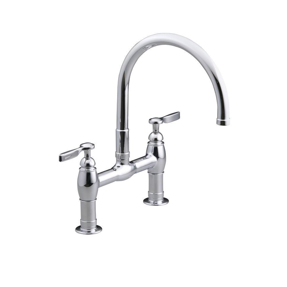bridge faucets kitchen gray rugs kohler parq deck mount 12 in 2 handle mid arc faucet