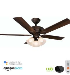 led mediterranean bronze ceiling fan with light kit works with google assistant and alexa [ 1000 x 1000 Pixel ]