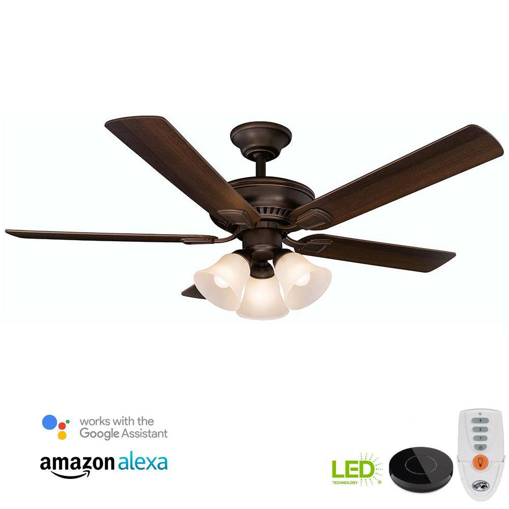 medium resolution of led mediterranean bronze ceiling fan with light kit works with google assistant and alexa
