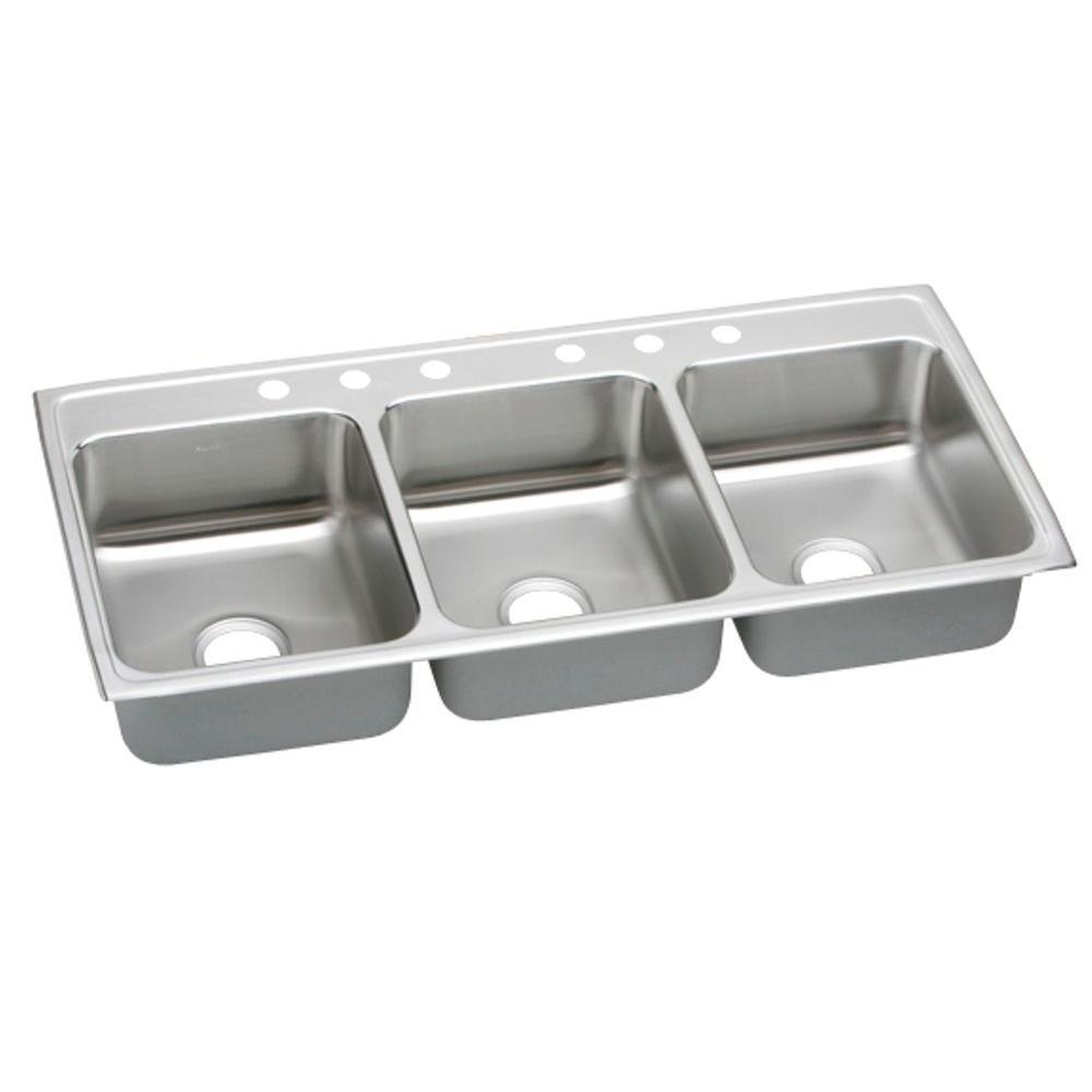 triple kitchen sink high flow rate faucets elkay lustertone drop in stainless steel 46 6 hole bowl