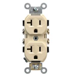 leviton 20 amp commercial grade duplex outlet ivory [ 1000 x 1000 Pixel ]