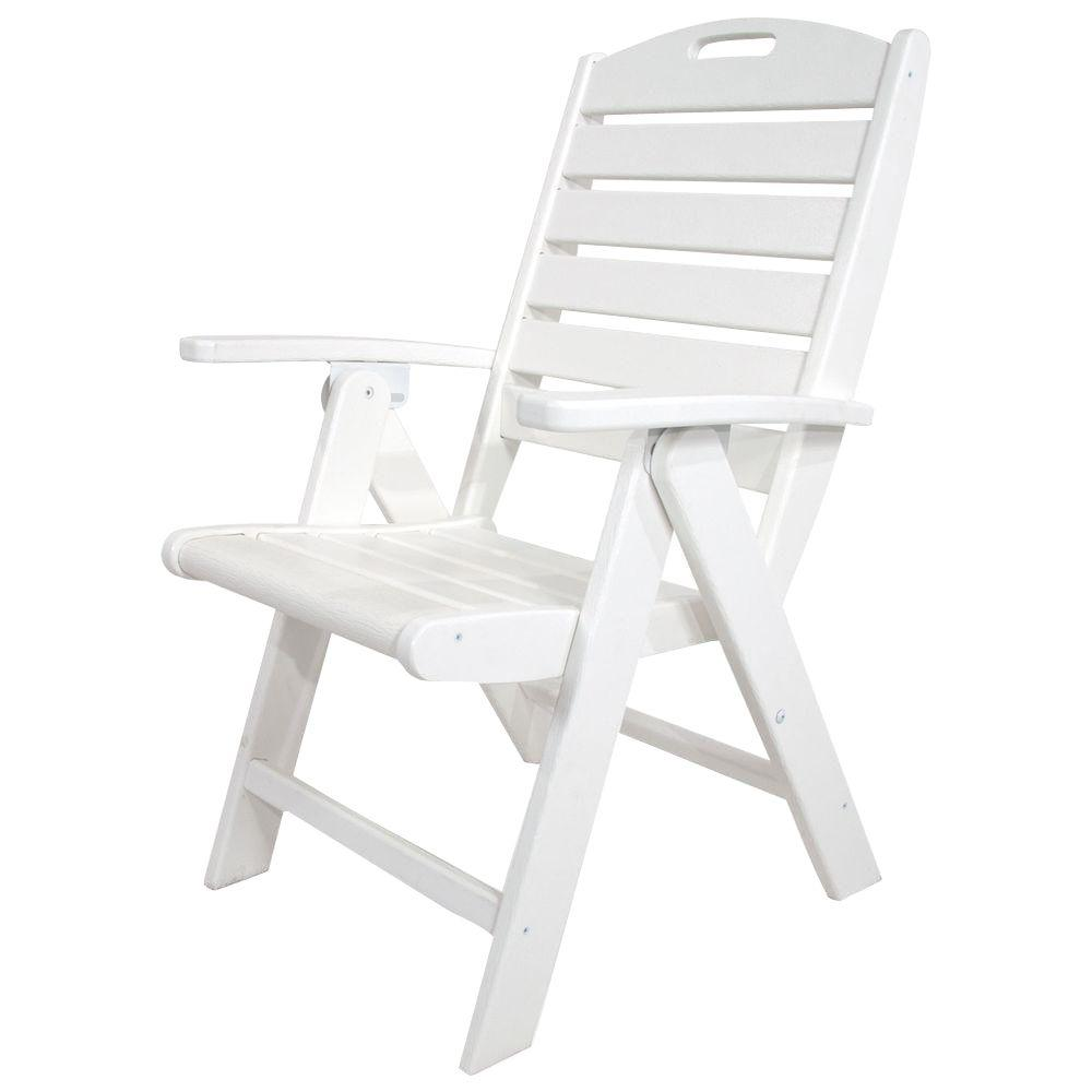 Patio Folding Chairs Trex Outdoor Furniture Yacht Club Classic White Highback Patio Folding Chair