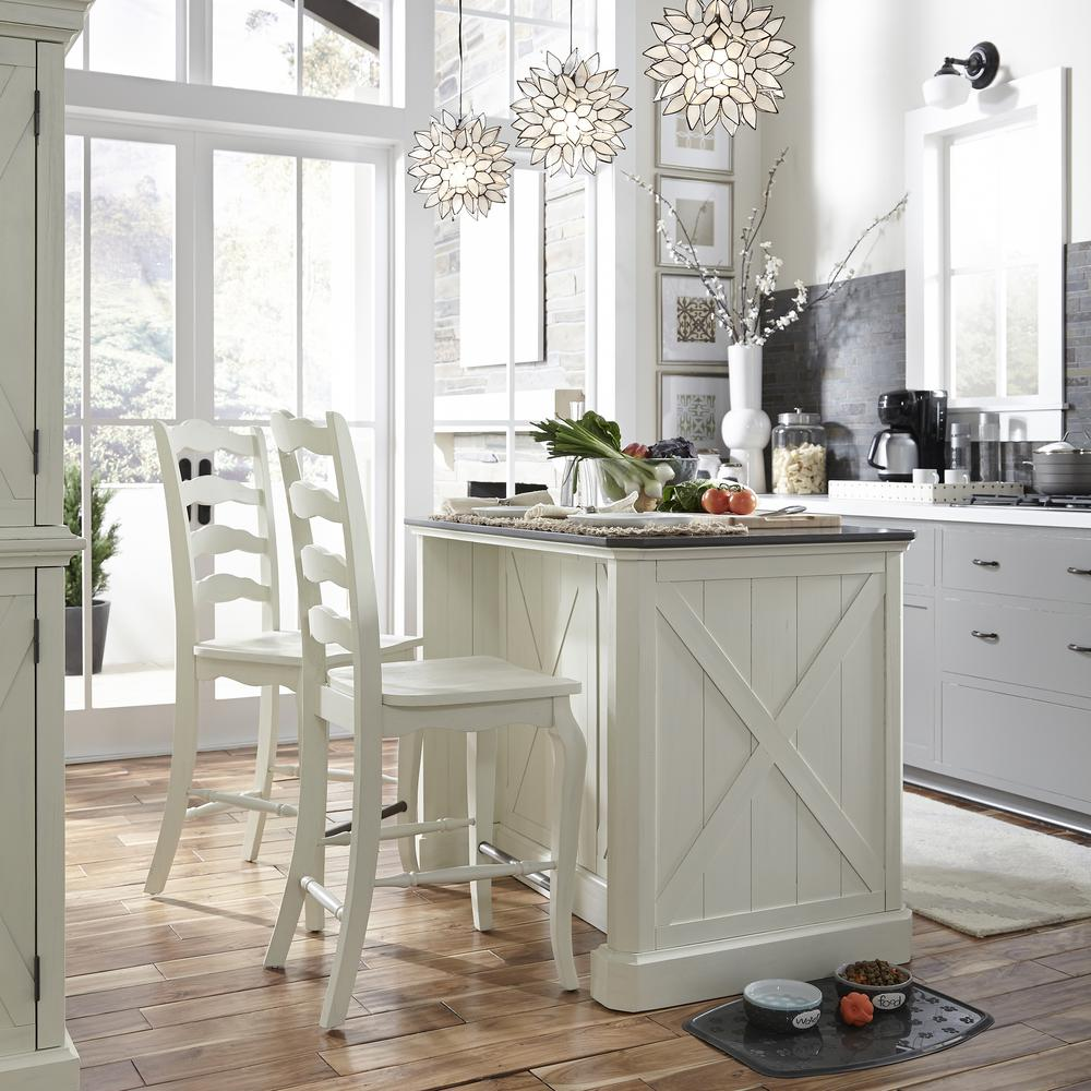 White Kitchen Island With Stools