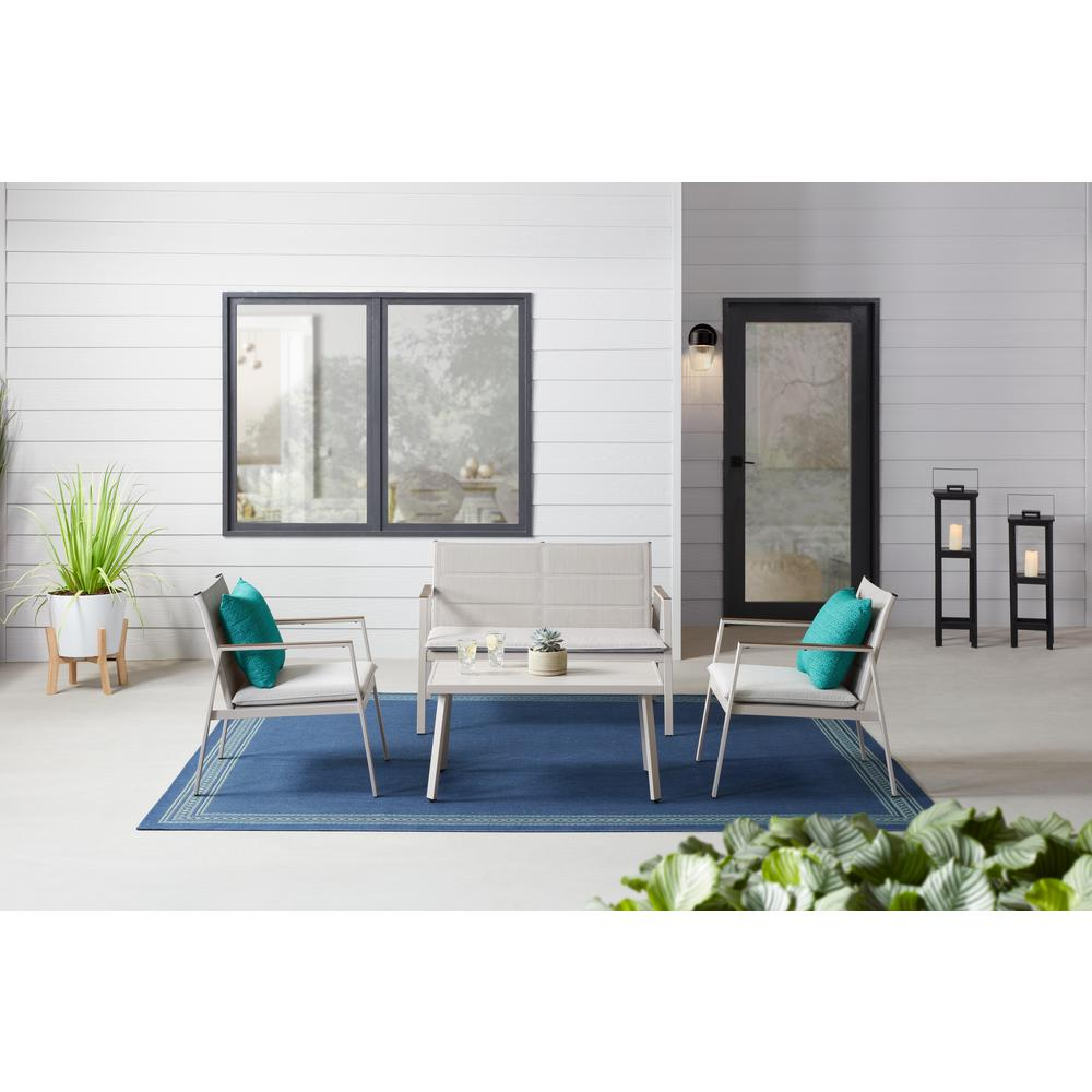 details about stylewell crystal cape 4 piece metal patio conversation set with warm grey