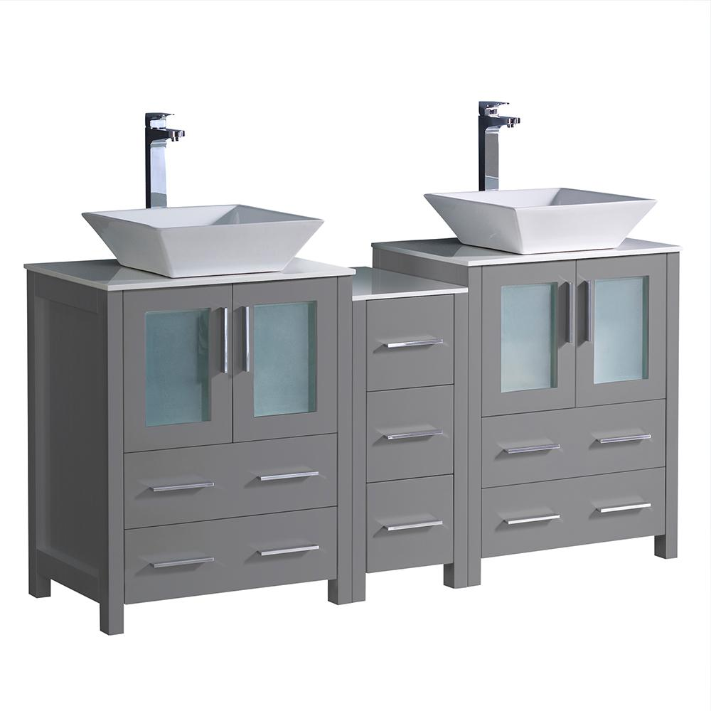 Fresca Torino 48 In Bath Vanity In Gray With Glass Stone Vanity Top In White With White Vessel Sink And Side Cabinet Fcb62 3612gr Cwh V The Home Depot