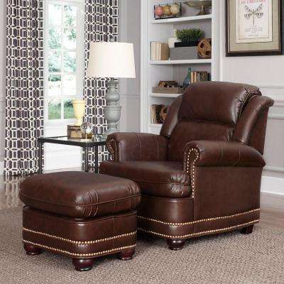 brown accent chair with ottoman lifetime adirondack chairs faux leather the beau arm