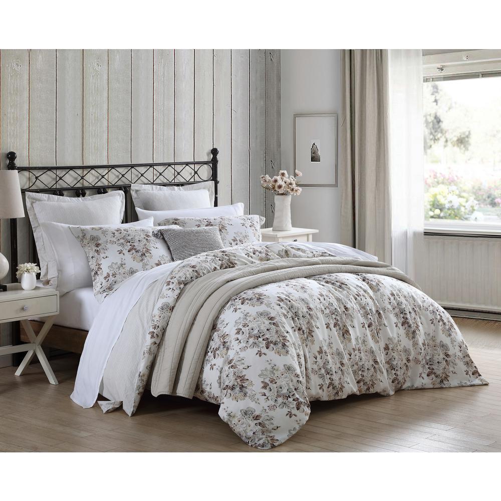 stone cottage berrie 6 piece floral brown cotton king comforter sham set ushs8k1166167 the home depot