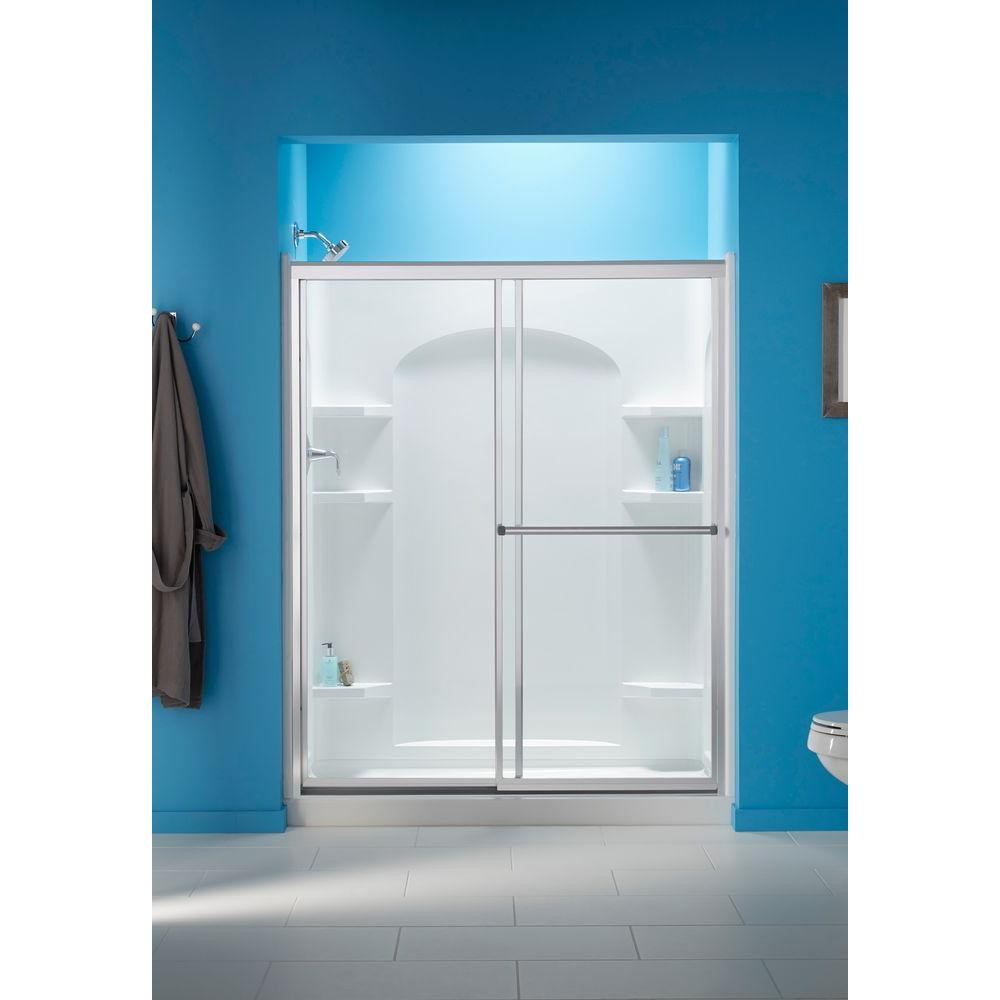 STERLING Prevail 5938 x 7014 in Framed Sliding Shower Door in Silver with Handle57207559S