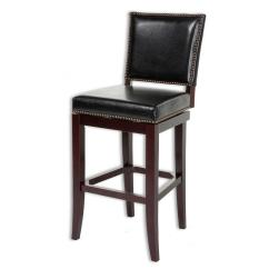 Chair Bed Stool Cover Rentals Kingston Fashion Group 30 In Sacramento Wood Bar With Black Upholstered Nailhead Trim Swivel Seat And Espresso Frame Finish