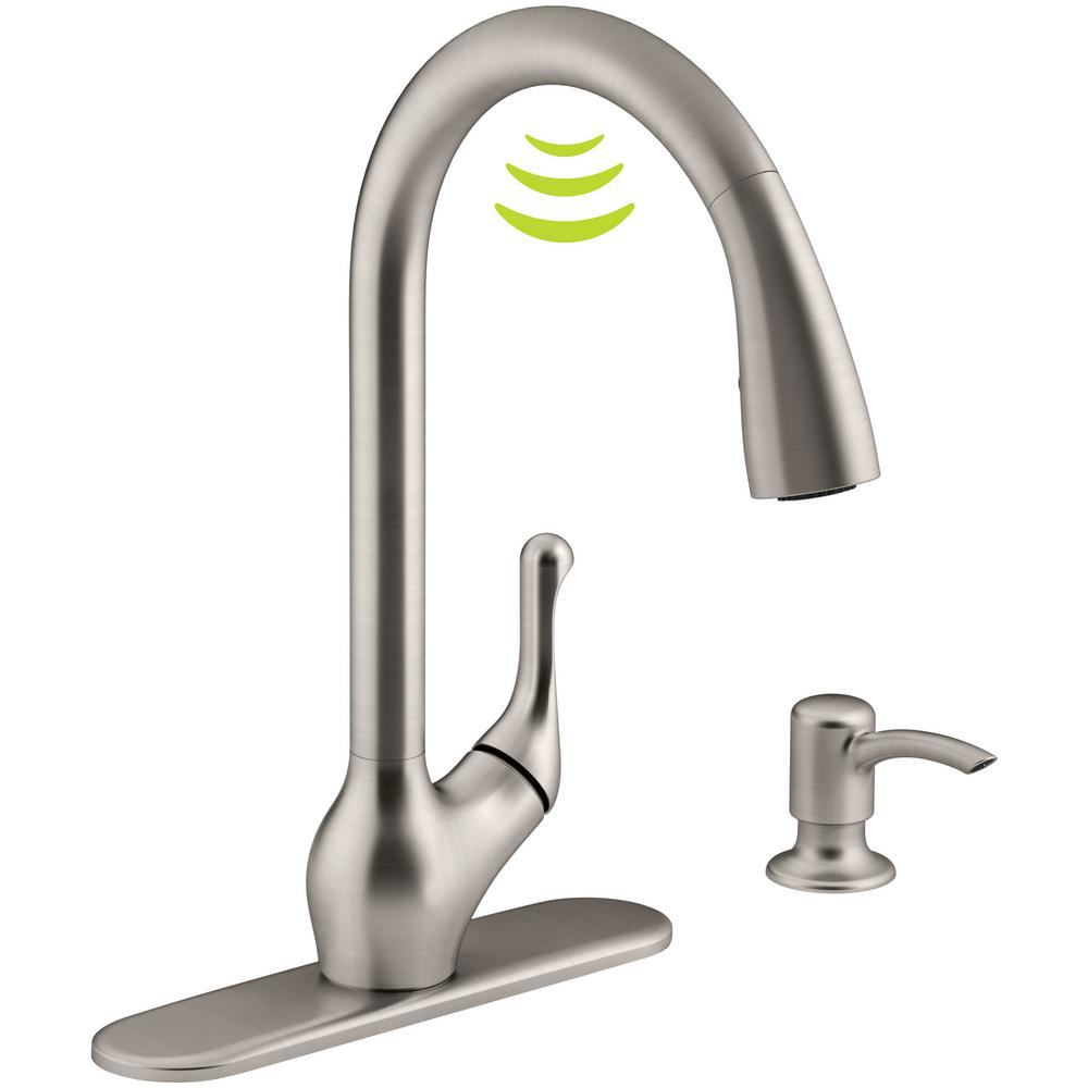 motion faucet kitchen valances for kohler barossa with response touchless technology single handle pull down sprayer in vibrant stainless