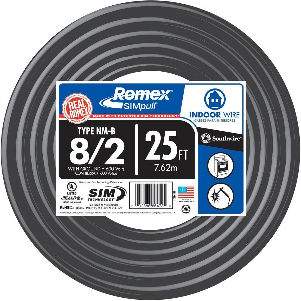 medium resolution of 8 2 stranded romex simpull cu nm b w g wire 28893622 the home depot