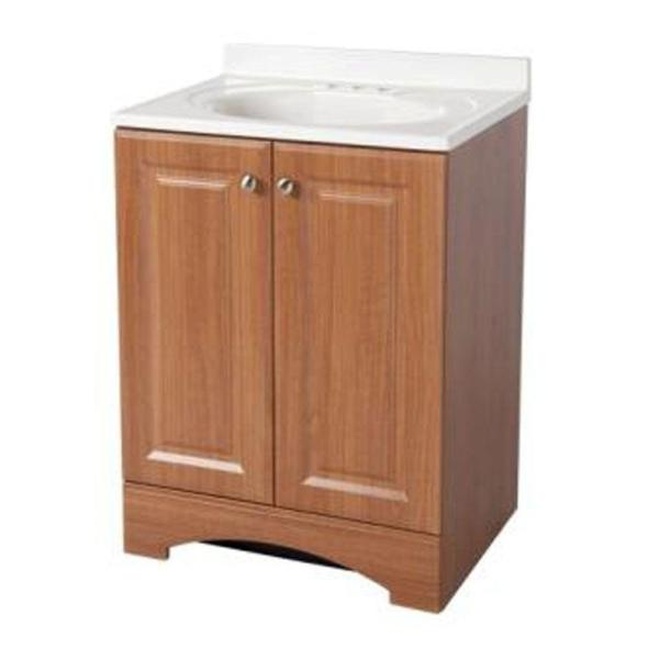 Glacier Bay 24 In W Bath Vanity In Golden Pecan With Cultured Marble Vanity Top In White With White Sink Gb24p2 Wa The Home Depot