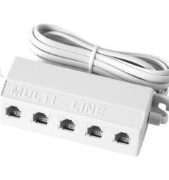 ge 5 way 4 conductor phone splitter white [ 1000 x 1000 Pixel ]