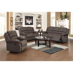 Microfiber Living Room Furniture Sets Design Ideas For With Fireplace Ellis Contemporary 3 Piece Dark Brown Set S6020 The Home Depot