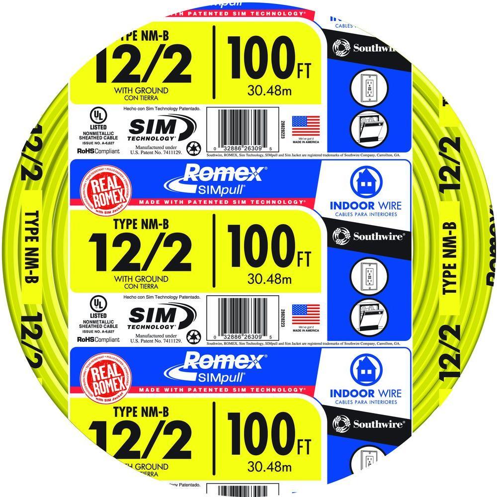 medium resolution of southwire 100 ft 12 2 solid romex simpull cu nm b w g wire 2882822812 2 solid romex