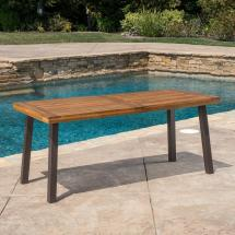 Noble House Dellateak Finish Rectangle Wood Outdoor Dining
