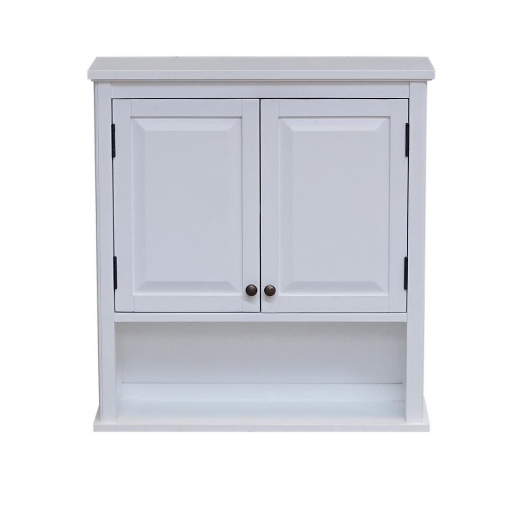 Bathroom Storage Cabinet Alaterre Furniture Dorset 27 In W Wall Mounted Bath Storage Cabinet With 2 Doors And Open Shelf In White