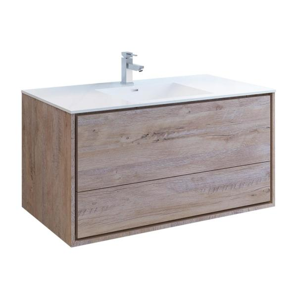 Fresca Catania 48 In Modern Wall Hung Bath Vanity In Rustic Natural Wood With Vanity Top In White With White Basin Fcb9248rnw I The Home Depot