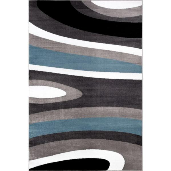 World Rug Abstract Contemporary Modern Blue 7 Ft