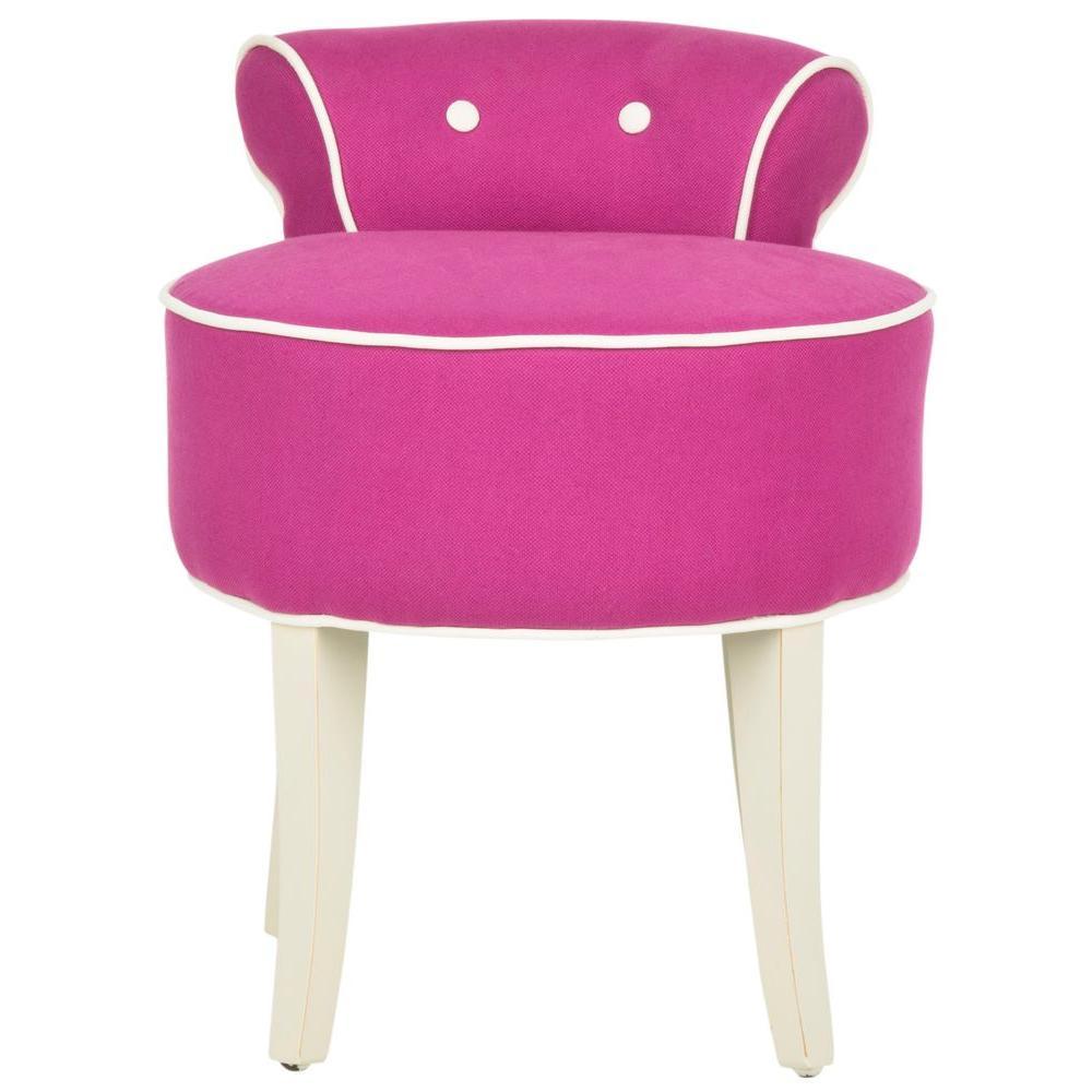 pink vanity chair cloud nine makeup stool furniture the home depot georgia fuchsia cotton