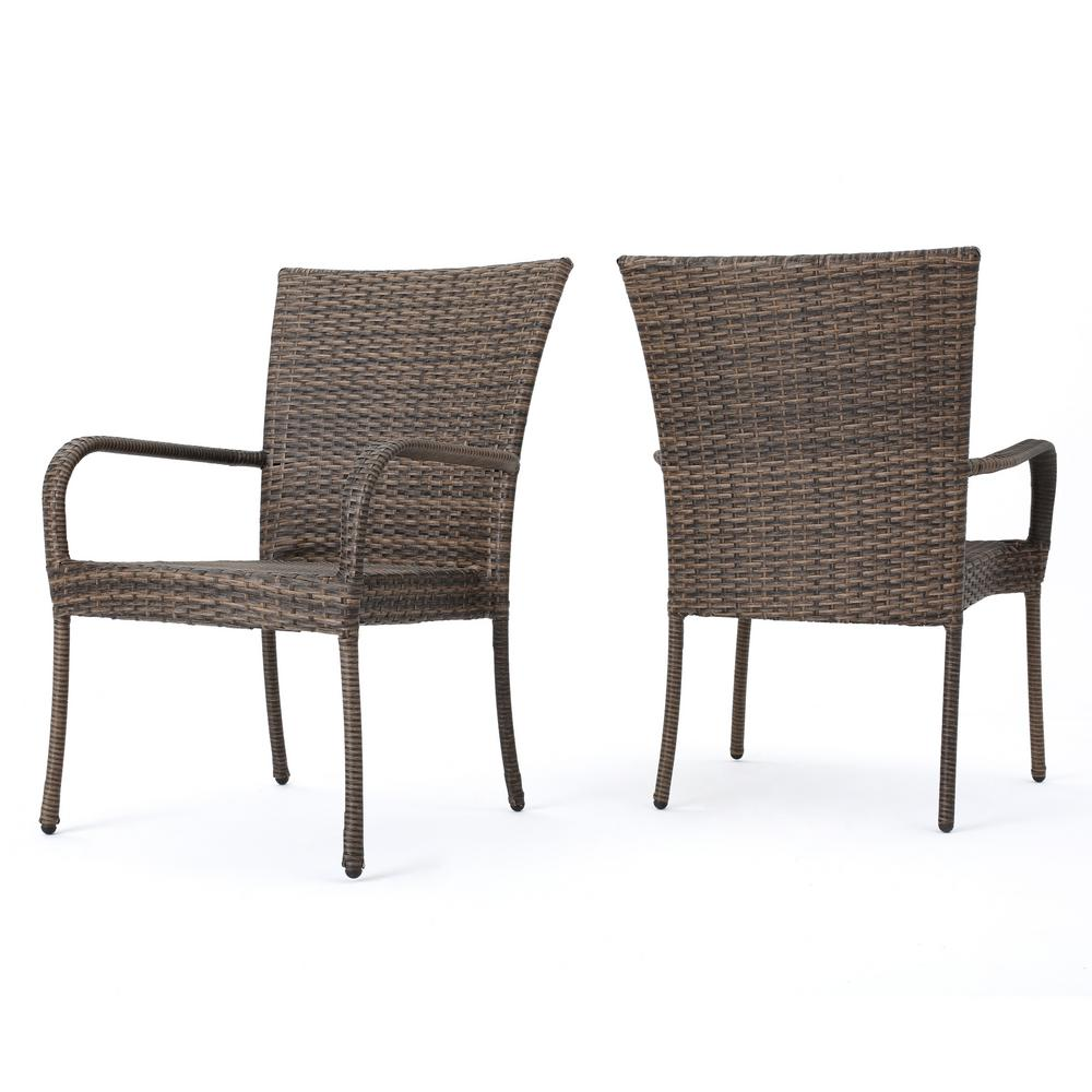 Outdoor Chair Set Noble House Littleton Mixed Mocha Stackable Wicker Outdoor Dining Chairs Set Of 2