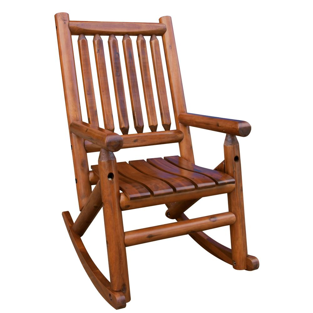 Leigh Country Amberlog Patio Rocking ChairTX 36000  The Home Depot