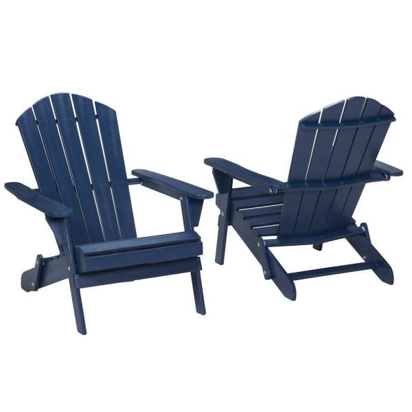 'dente Villaret Navy Blue Folding Wood Adirondack Chair-sd001nv - Home Depot