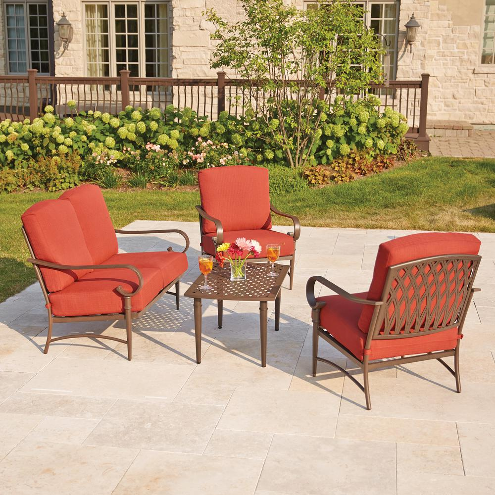 patio chairs for cheap rubber wood dining furniture the home depot oak cliff 4 piece metal outdoor deep seating set with chili cushions