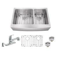 MOEN 1800 Series Apron Front Stainless Steel 30 in. Double ...