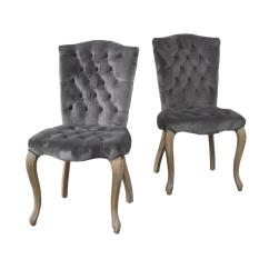 Velvet Tufted Chair Covers For Sale In Nigeria Noble House Moira Charcoal New Dining Chairs Set Of 2 296554 The Home Depot