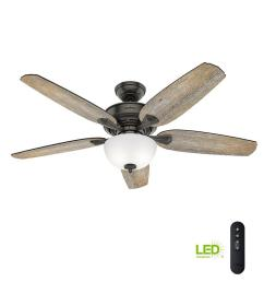 led indoor easy install noble bronze ceiling fan with hunterexpress feature [ 1000 x 1000 Pixel ]