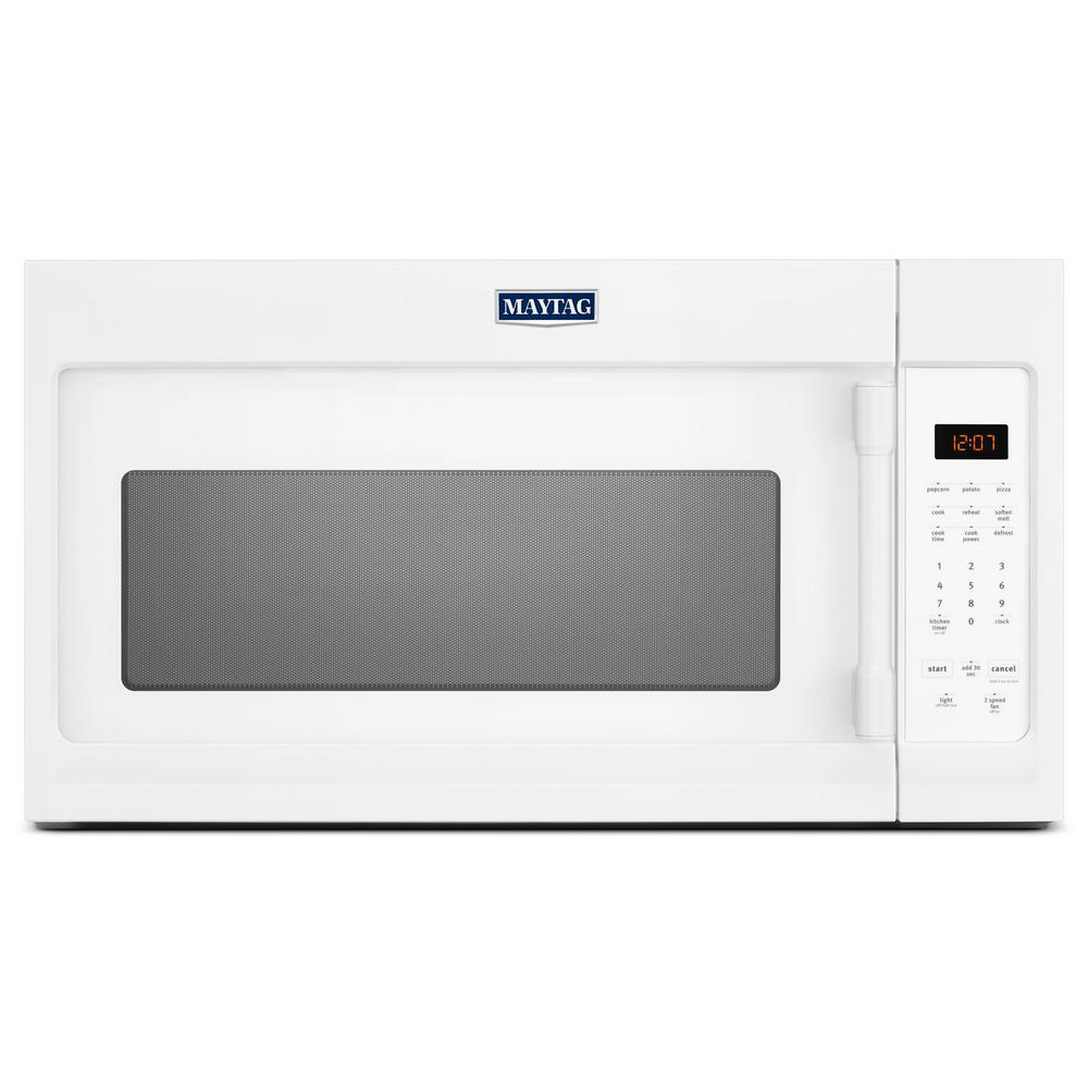 hight resolution of maytag 1 7 cu ft over the range microwave hood in white