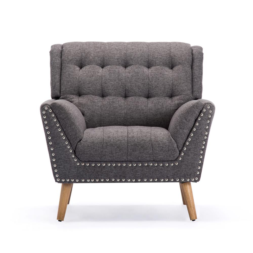 office club chairs chair rental kansas city noble house delia contemporary tufted charcoal tweed fabric with nail head accents 307781 the home depot